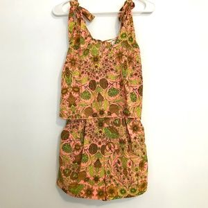 H&M Tropical Floral Neon Pink Romper XS